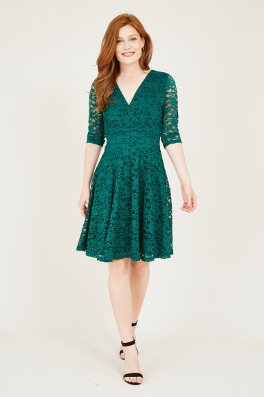 Mela Green Lace Skater Dress