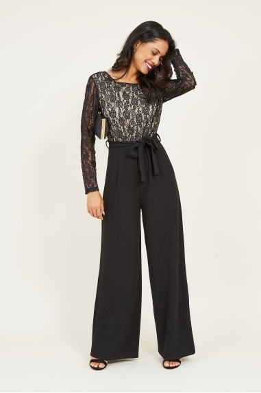 Mela Black Lace Tie Jumpsuit