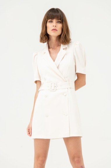 Blazer Dress with Short Sleeves in White