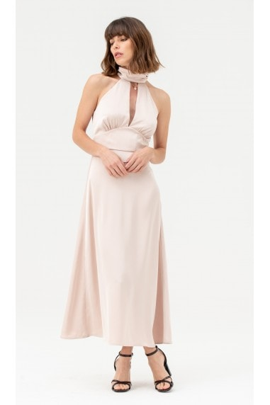Cut-out Satin Halterneck Midi Dress Nude