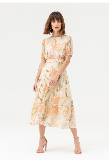 Round Neck Short Sleeve Midi Dress in Nude Floral