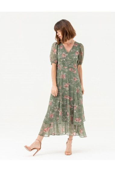 Short Sleeve Tiered Skirt Midi Dress in Green Floral