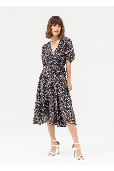 Short Sleeve Wrap Midi Dress in Black Floral
