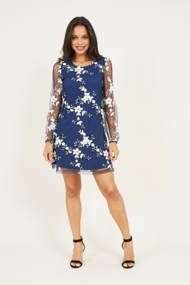 Navy Embroidered Floral Tunic Dress