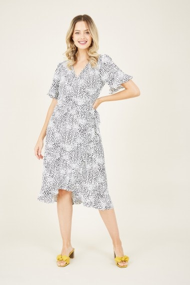 Grey Ditsy Animal Wrap Dress
