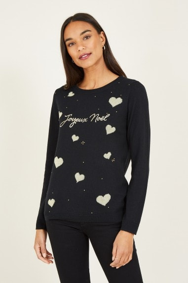 Black Noel Slogan Christmas Jumper