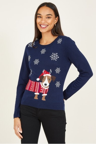 Navy Dog Christmas Jumper