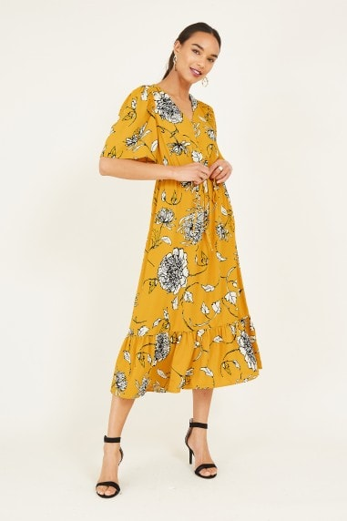 Yellow Sketchy Rose Midi Dress