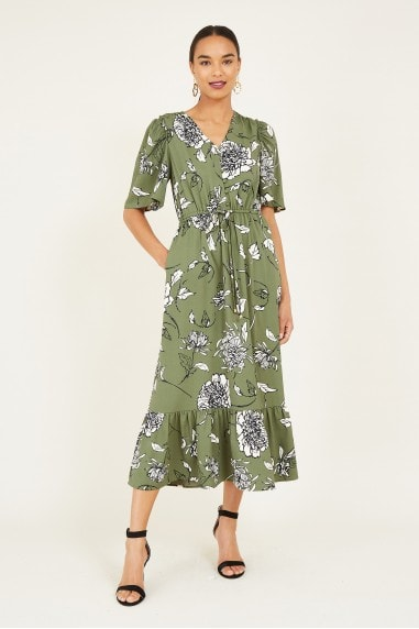 Green Sketchy Rose Midi Dress