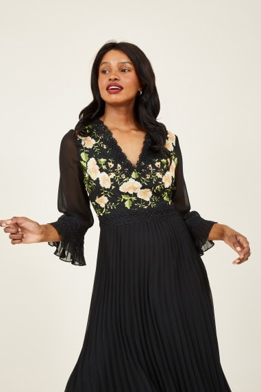 Black Embroidered Floral Midi Dress
