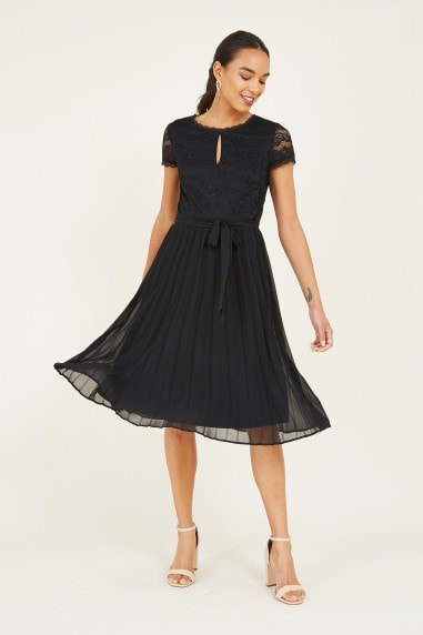 Black Lace Pleated Skater Dress