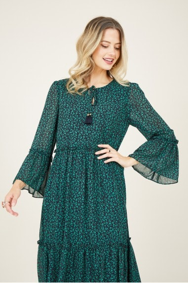 Green Ditsy Smock Dress