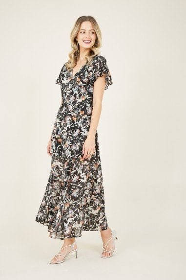 Black Floral Lurex Midi Dress
