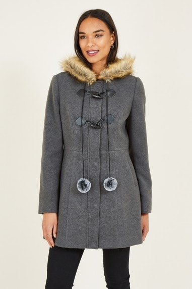 Grey Duffle Coat With Pom-Poms
