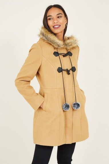 Camel Duffle Coat With Pom-Poms