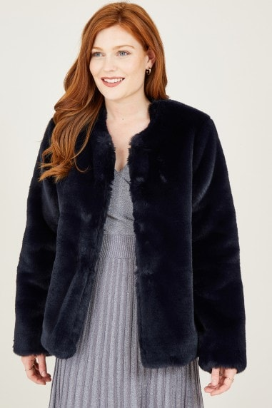 Navy Collarless Faux Fur Coat