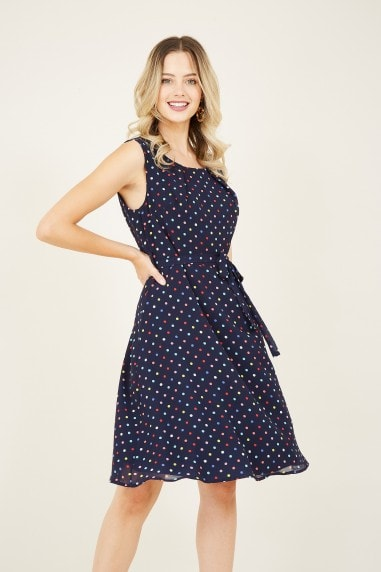 Navy Polka Dot Skater Dress