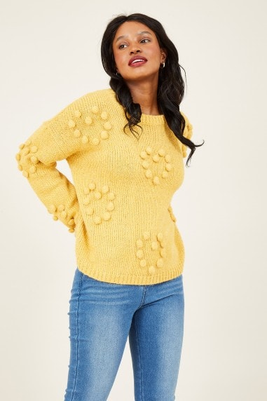 Mustard Bobble Knitted Jumper