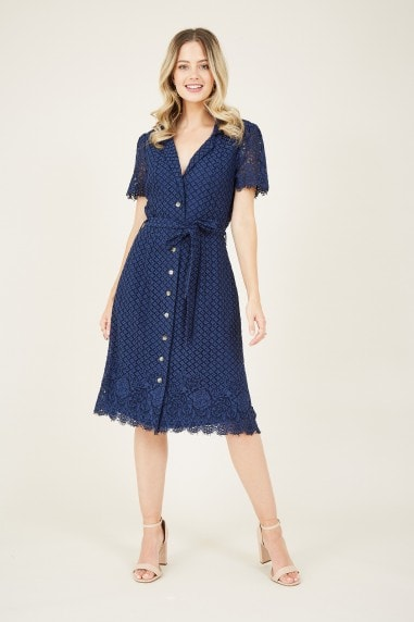 Navy Lace Tie Shirt Dress