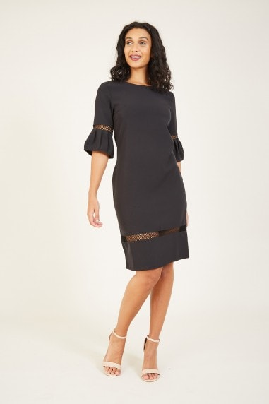 Black Frill Fitted Dress