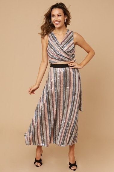 Parker Sequin Stripe Midi Skirt Co-ord