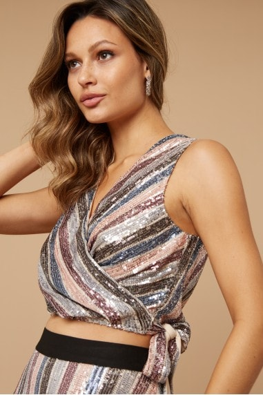 Parker Sequin Stripe Wrap-Around Top Co-ord