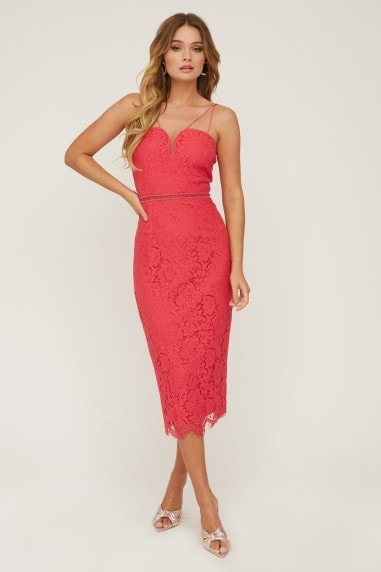 Midas Touch Hot Pink Lace Sweetheart Dress