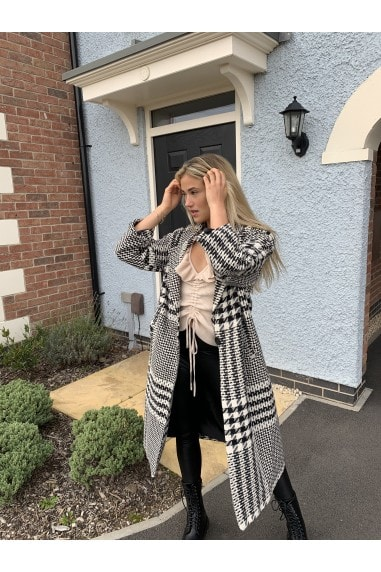 Black And White Houndstooth Check Coat
