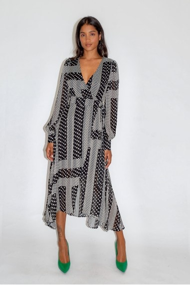 Star and Polka Dot Print Midi Fake Wrap Dress