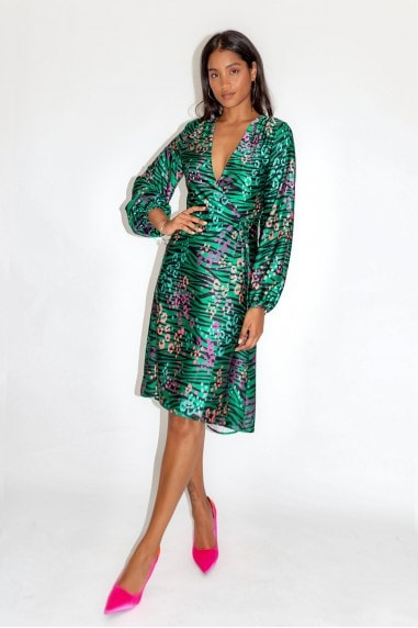 Leopard and Zebra Print Midi Dress in Green Base