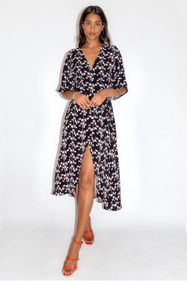 Geometrical Print Wrap Dress with Kimono Sleeves