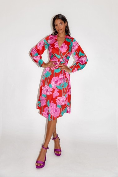 Overscaled Floral Midi Fake Wrap Dress in Contrast Colours