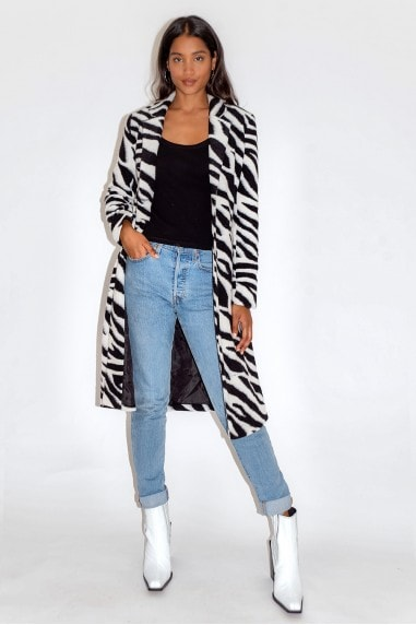 Black and White Zebra Print Coat