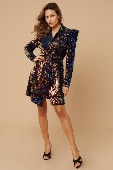 Avery Navy Velvet Sequin Blazer Mini Dress