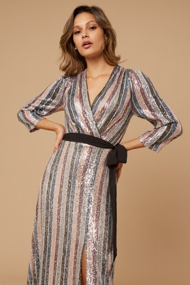 Kadence Sequin Stripe Wrap Maxi Dress