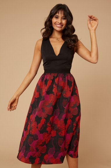 Sutton Floral-Print Jacquard Fit And Flare Midi Dress