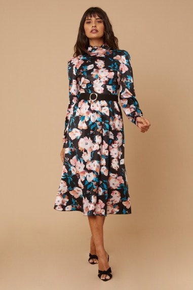 Remi Satin Floral-Printed Belted Midi Dress