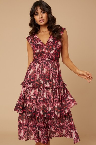 Lennon Pink Blossom Floral-Print Tiered Midi Dress