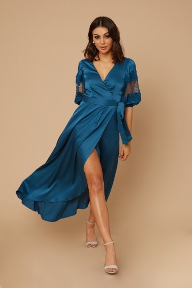 Drew Turquoise Satin Lace Sleeve Wrap Maxi Dress