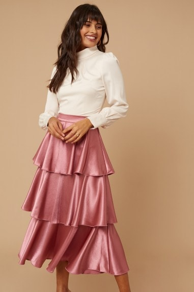 Reign Deep Mink Satin Tiered Midi Skirt
