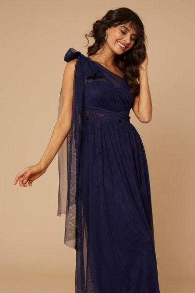 Bridesmaid Karter Navy Bow Detail One-Shoulder Maxi Dress