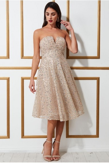 Goddiva Champagne Sequin Cocktail Party Evening Dress Prom Bridesmaid RRP £65