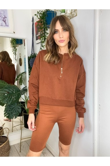 Brown Lounge Sweatshirt And Shorts Co-ord Set