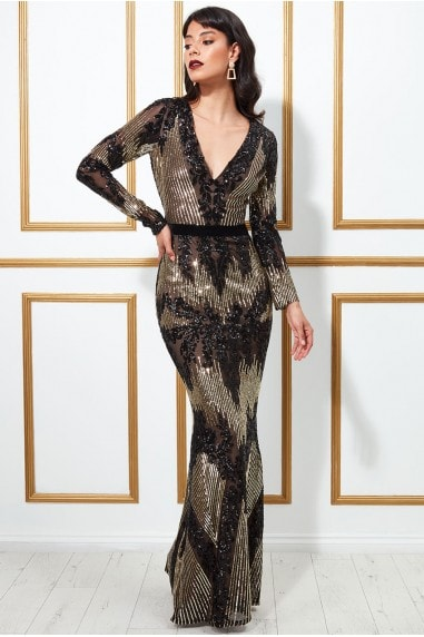 Goddiva Long Sleeve Sequin Evening Maxi Dress - Black