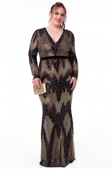 Goddiva Plus Long Sleeve Sequin Evening Maxi Dress - Black
