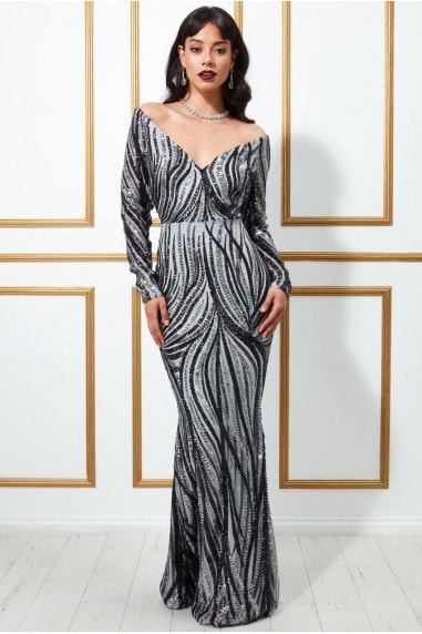 Goddiva Off The Shoulder V Neck Maxi Dress - Silver