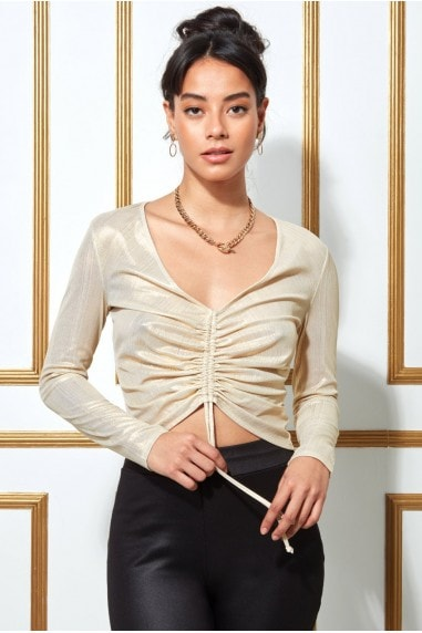 Goddiva Metallic Drawstring Long Sleeve Crop Top - Creamgold