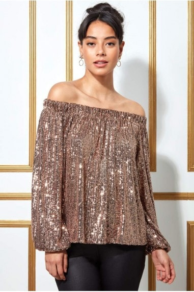 Goddiva Bardot Sequin Crop Top With Cuffed Sleeves - Champagne