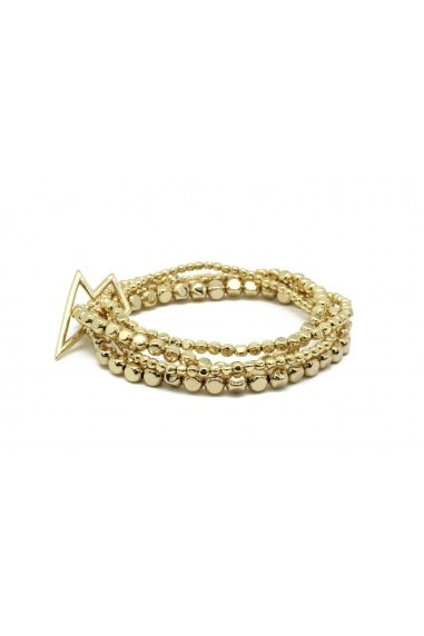 Whistle 4 Layered Gold Plated Bracelet Set with Lightening Bolt Fastener