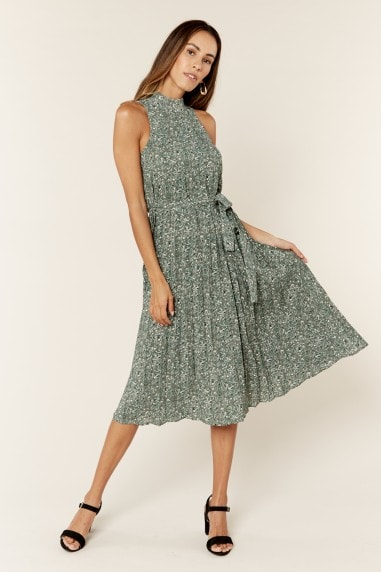 Green Pleated belted Midi Dress